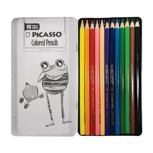 مداد رنگی 12 رنگ تخت فلزی پیکاسو