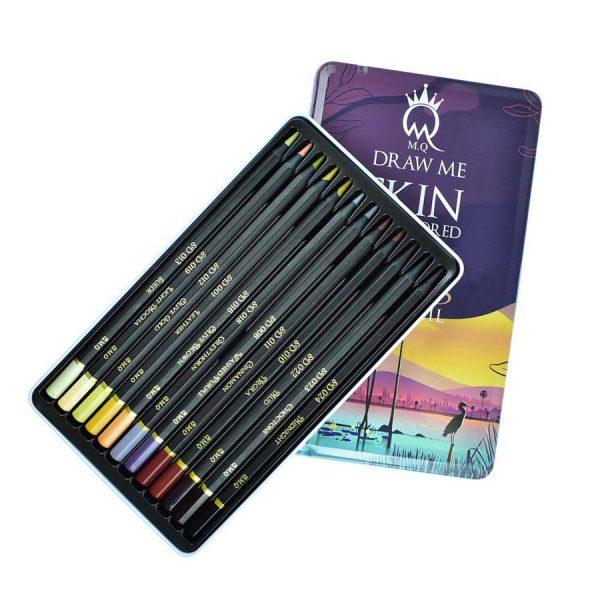 مداد رنگی 12 رنگ جعبه فلزی ام کیو
